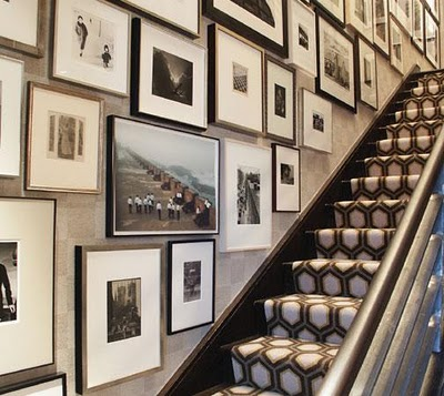 Entry stairs with picture frames via ericcohler