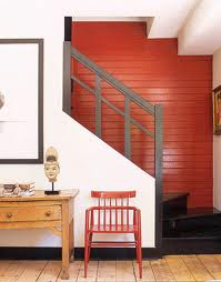 Red wall stairway house beautiful
